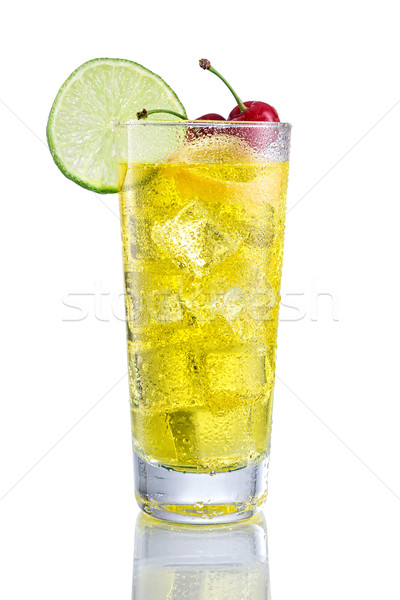 Yellow long Cocktail with lemon and cherry Stock photo © Geribody