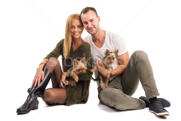 любви пару два Йоркшир терьер осень Сток-фото © Geribody