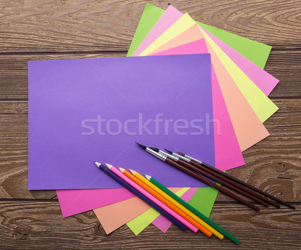 School stationery, cozy colors, paper, pencil, brush, wood background Stock photo © Geribody