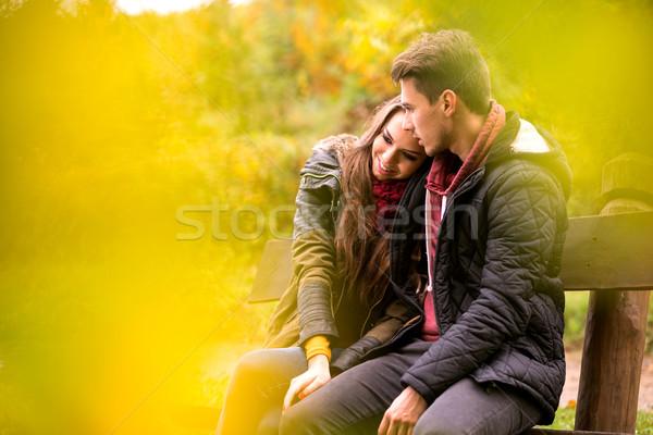 Kochający para jesienią parku posiedzenia ławce Zdjęcia stock © Geribody