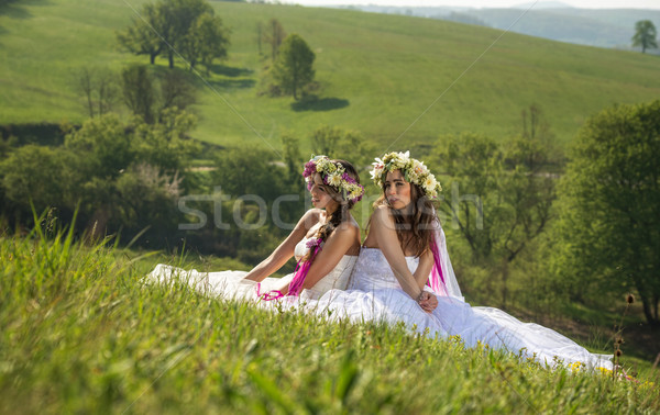 2 Beautiful bride in the outdoor, sitting on the grass - idyllic Stock photo © Geribody