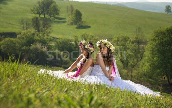 Güzel gelin açık oturma çim pastoral Stok fotoğraf © Geribody