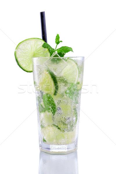 Mojito citrus menta izolált fehér víz Stock fotó © Geribody