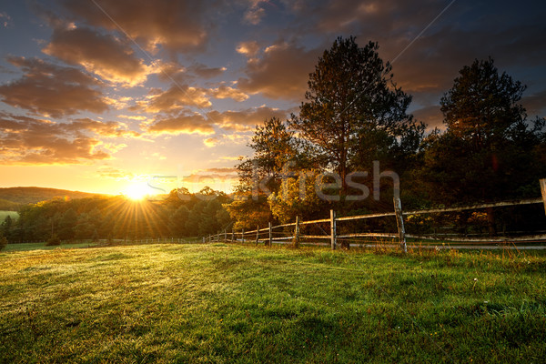 Picturesque landscape, fenced ranch at sunrise Stock photo © Geribody
