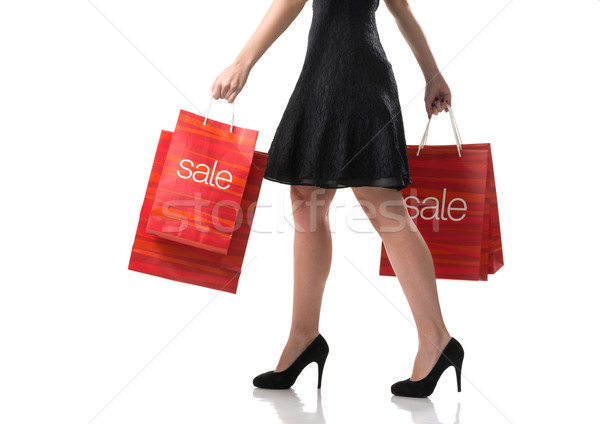 Pretty woman and  sale, detail photo, female legs with sale bags Stock photo © Geribody