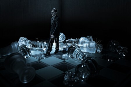 Glass chess board - overturned dummies Stock photo © Geribody