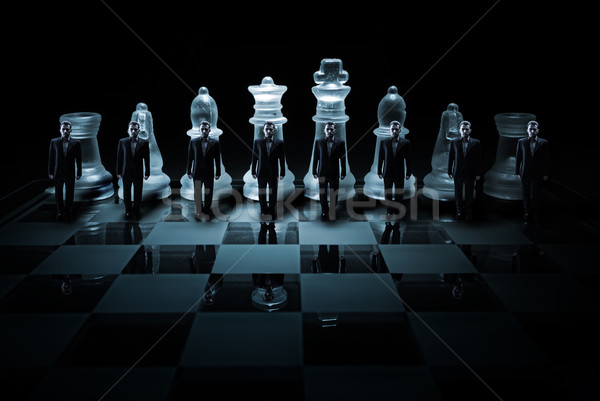 Glass chess board - Businessman peasants site Stock photo © Geribody