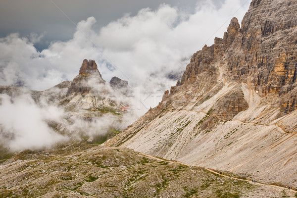 Italy, Dolomites - barren rocks in the clouds  Stock photo © Geribody