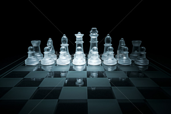 Glass chess board - dark background Stock photo © Geribody