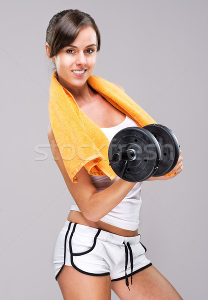 Vivre corps musclé femme eau alimentaire Photo stock © Geribody