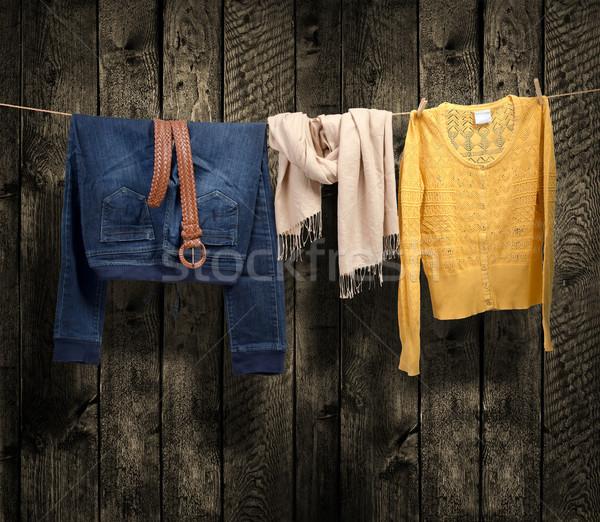 Women's clothing on a clothesline on wood background Stock photo © Geribody