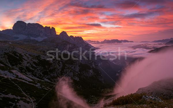 Beautiful sunrise on the Dolomites Stock photo © Geribody
