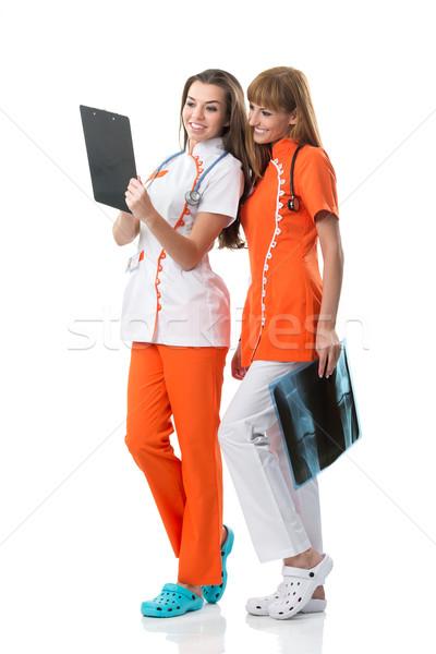 Kijken x ray afbeelding arts gelukkig Stockfoto © Geribody