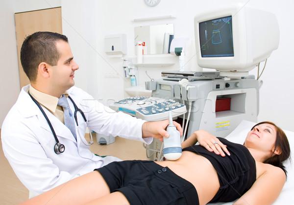 Gebelik ultrason tıbbi kadın mutlu hamile Stok fotoğraf © Geribody