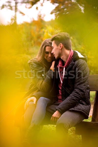 страстный любви небе девушки облака древесины Сток-фото © Geribody