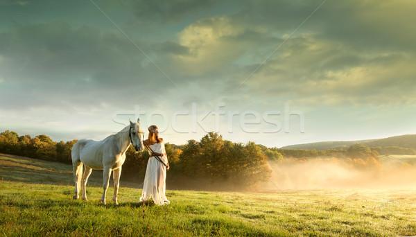 Gyönyörű érzéki nők fehér ló fű szexi Stock fotó © Geribody