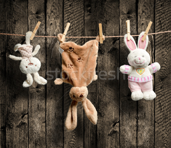 Plush bunnies on the clothesline, wooden background Stock photo © Geribody