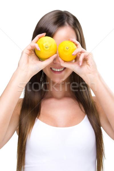 Kadın gözler iki limon gıda Stok fotoğraf © Geribody