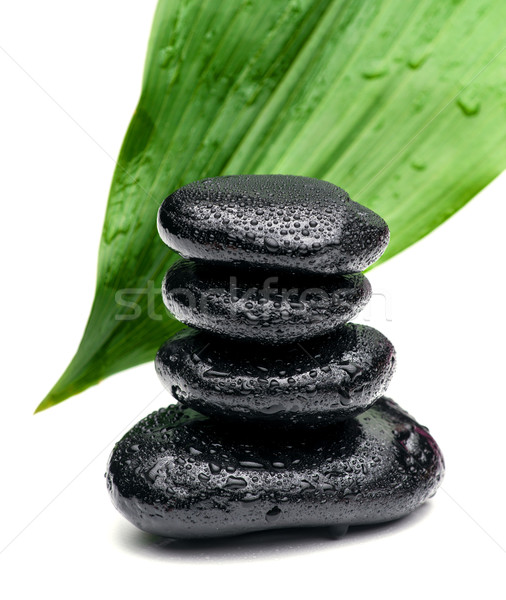 zen stones and leaves with water drops Stock photo © Geribody