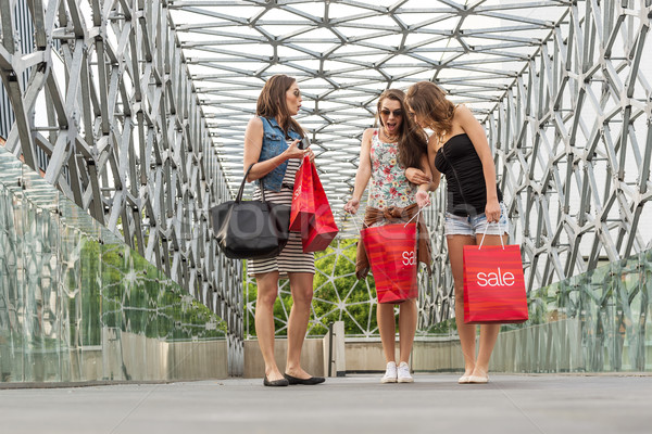 Three beautiful woman walking on the bridge, They Were shopping, shopping bag in his hand Stock photo © Geribody
