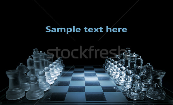 Stock photo: Glass chess board - your text here