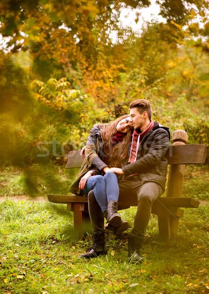 Stock fotó: Szerelmespár · ősz · park · égbolt · lány · felhők