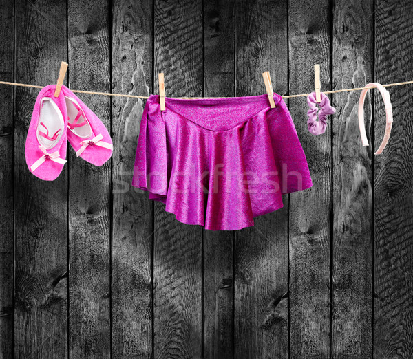 Ballet clothes, accessories on a clothesline Stock photo © Geribody