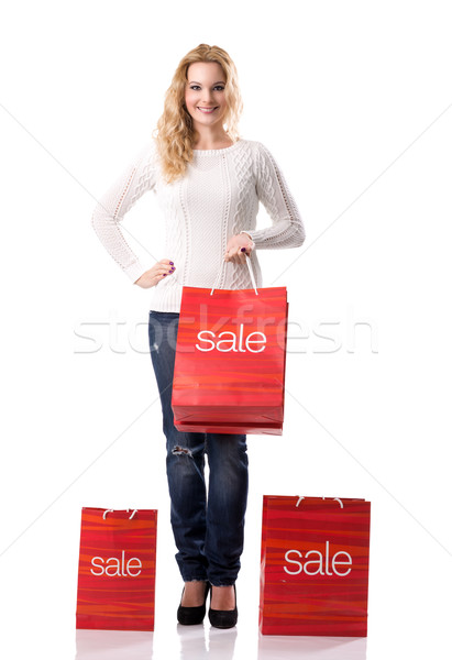 Satış gülen güzel kadın çanta kadın kadın Stok fotoğraf © Geribody