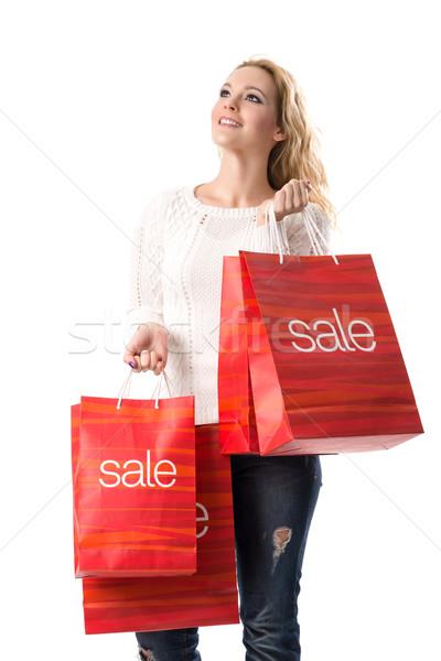 Satış gülen sarışın kadın çanta kadın Stok fotoğraf © Geribody