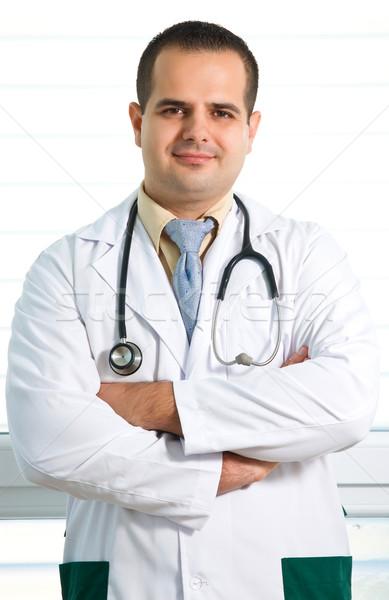 Portre doktor genç iş mutlu mavi Stok fotoğraf © Geribody