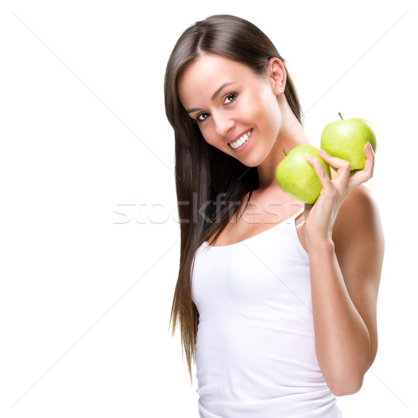 Healthy lifestyle - Beautiful, natural woman holds an two  apple  Stock photo © Geribody