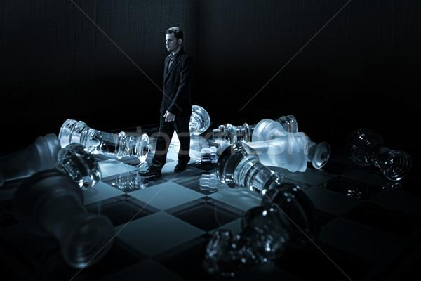 Işadamı satranç tahtası yürümek iş adam spor Stok fotoğraf © Geribody