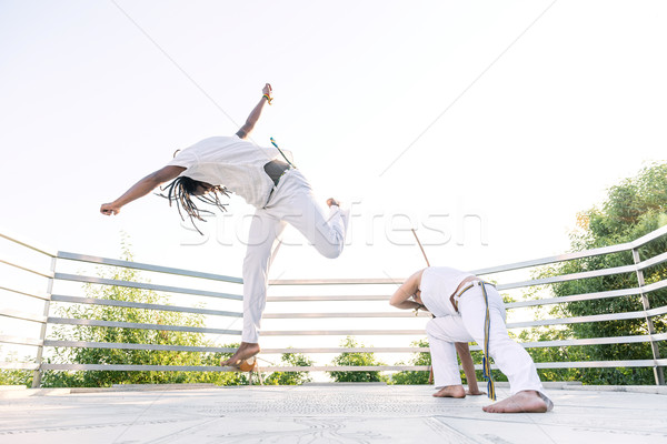 Capoeira, a woman and a man struggling in the outdoors Stock photo © Geribody