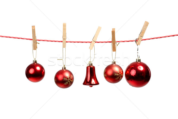Christmas tree ornaments on the clothesline Stock photo © Geribody