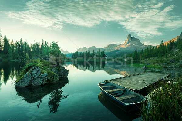 Italy, Dolomites - the beautiful lake at dawn to reveal a bluish green world Stock photo © Geribody