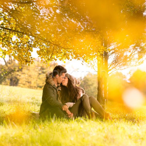 страстный целоваться парка дерево небе девушки Сток-фото © Geribody