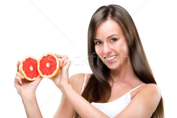 Foto stock: Viver · saudável · equilibrado · mulher · comida · cara