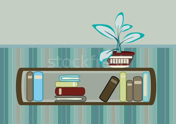 bookshelf and flower  Stock photo © Ghenadie