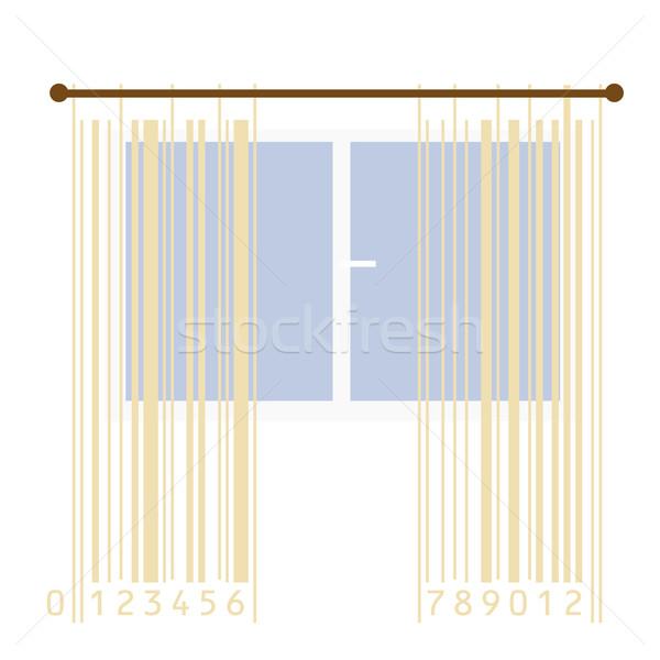 カーテン 定型化された バーコード ウィンドウ 芸術 ストックフォト © Ghenadie
