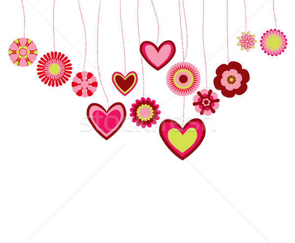 abstract flowers and hearts Stock photo © Ghenadie