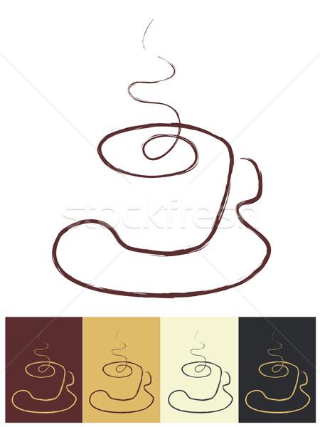 чашку кофе цвета искусства ресторан Бар печать Сток-фото © Ghenadie