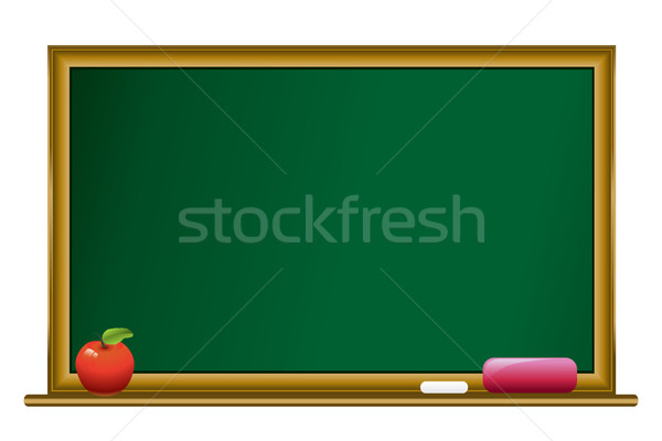 blacboard,chalk and red apple  Stock photo © Ghenadie