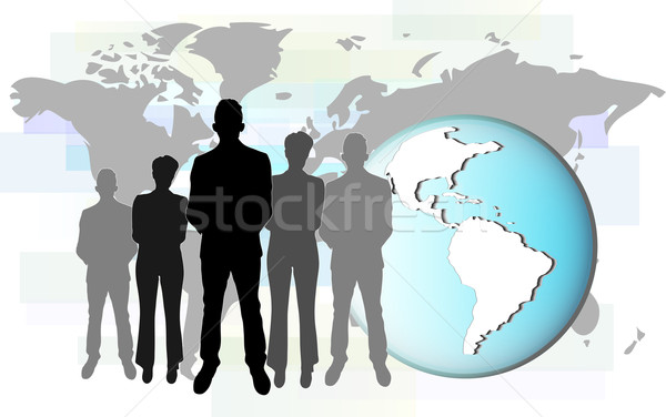 Illustration of international business people with earth. Elements of this image are furnished by NA Stock photo © gigra