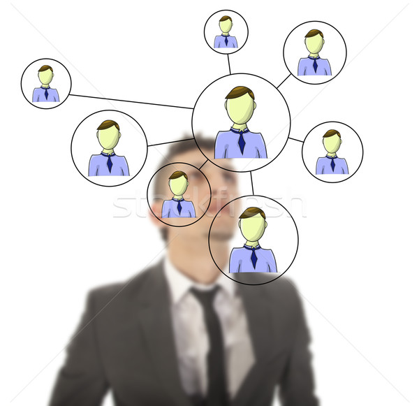 Businessman with online friends network isolated on white background Stock photo © gigra