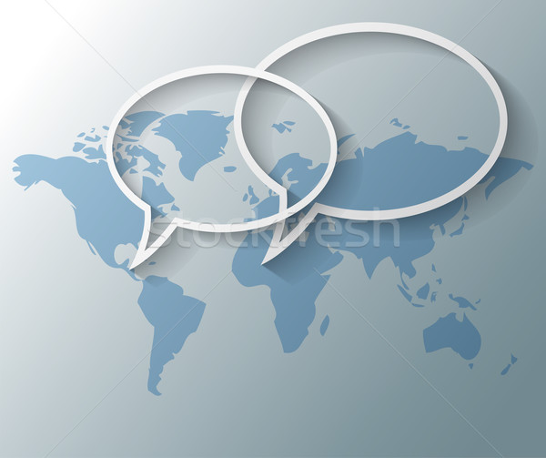 Illustration of text balloons with world map background Stock photo © gigra