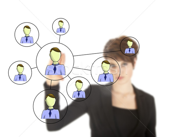 Businesswoman with online friends network isolated on white background Stock photo © gigra