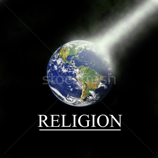 Earth with religious light beam with black background Stock photo © gigra