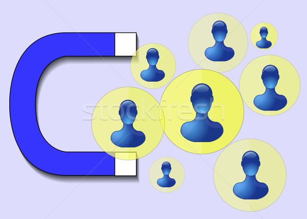 Illustration of blue magnet attracting humans Stock photo © gigra