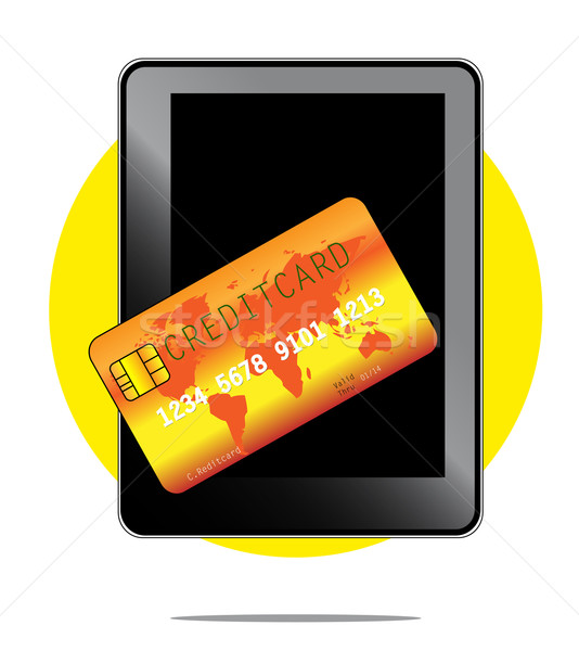 Illustration of mobile payment with phone and creditcard Stock photo © gigra
