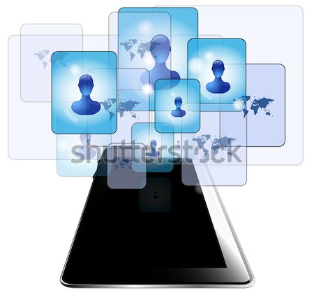 Illustration of tablet with business people isolated on white background Stock photo © gigra
